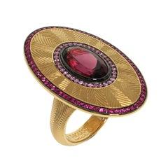 Ruby Pink Sapphire Rhodolite Garnet 18 Karat Yellow Gold Classical Ring