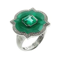 GRS Certified 1.55 Columbian Emerald Diamond Enamel 18 Karat Gold Cocktail Ring