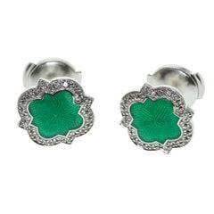Emerald Color Enamel Diamond 18 Karat White Gold Stud Earring
