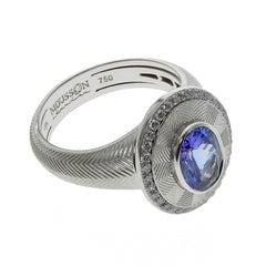 Tanzanite Diamond Classical 18 Karat White Gold Ring