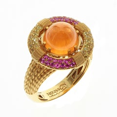 Mandarin Garnet Yellow and Pink Sapphire 18 Karat Yellow Gold Lifebuoy Ring