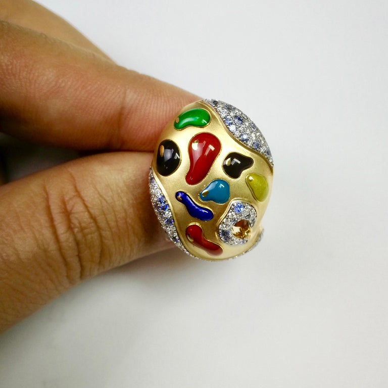 Contemporary Diamond Sapphire Enamel 18 Karat Yellow Gold Palette Ring For Sale