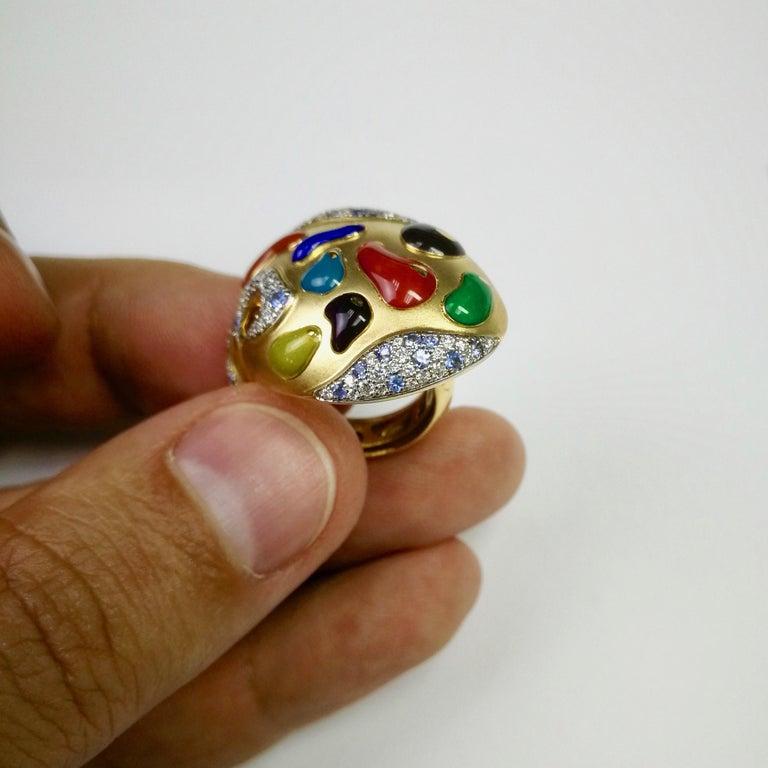 Women's or Men's Diamond Sapphire Enamel 18 Karat Yellow Gold Palette Ring For Sale