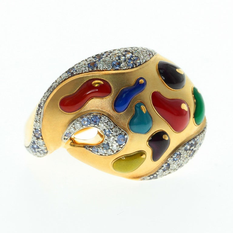 Diamond Sapphire Enamel 18 Karat Yellow Gold Palette Ring High detailed back part. Best present ever for some Artistic Person.  Accompanied with the earrings LU116414785073 and brooch LU116414785033  Size 29.2x22x25.4 mm Weight 10.18 gm  US Size 6