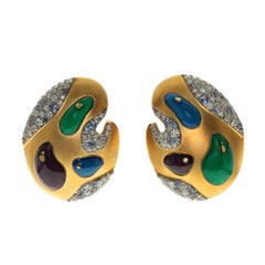 Diamond Sapphire Enamel 18 Karat Yellow Gold Palette Earrings