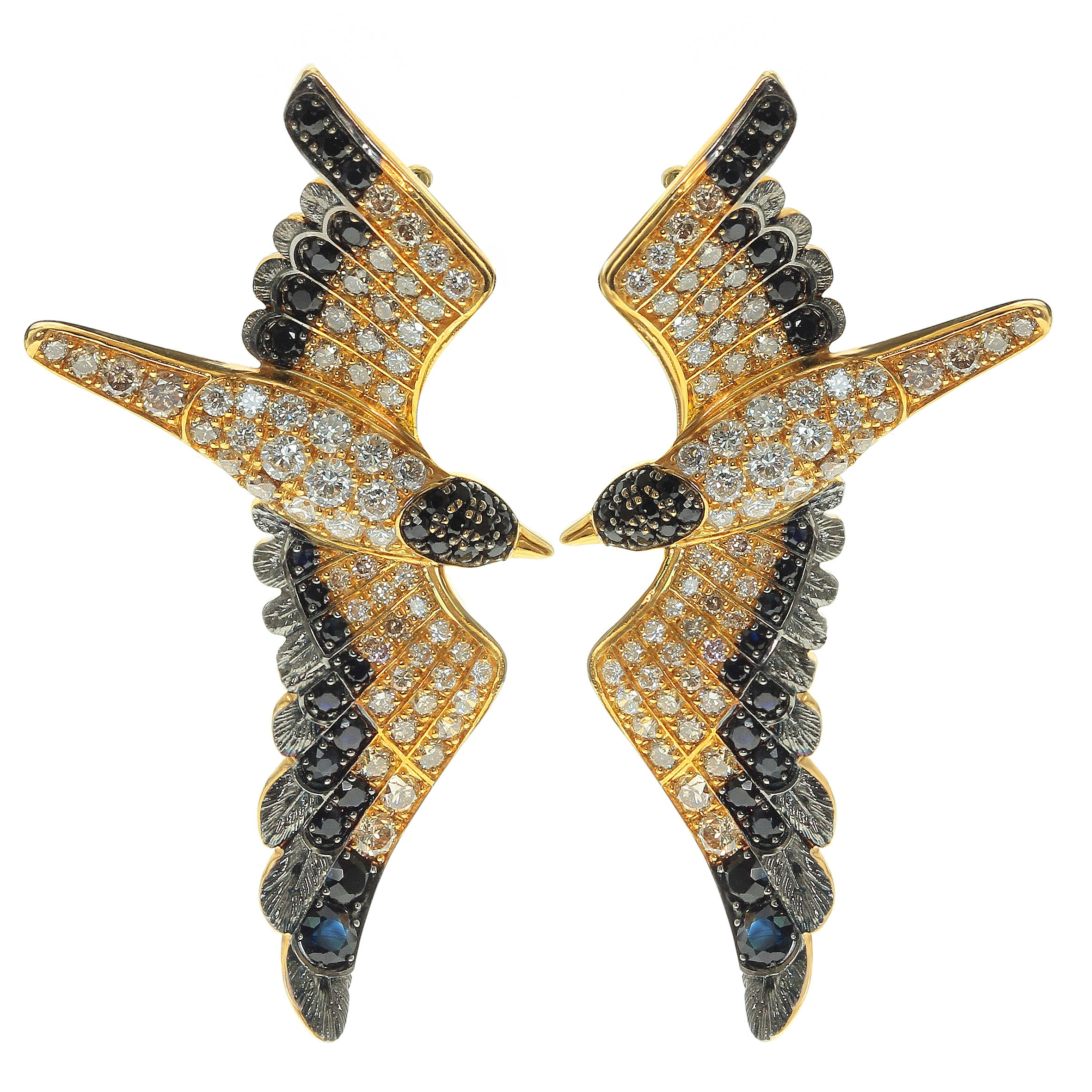 Diamonds Black Sapphire 18 Karat Yellow Gold Seagull Earrings