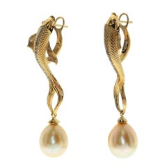 Golden South Sea Pearl Brown Diamonds Fish Earrings
