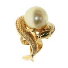 Golden South Sea Pearl Brown Diamonds Two Fish Ring
