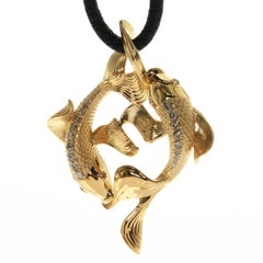 Brown Diamonds Two Fish Pendant