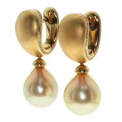 Golden South Sea Pearl Diamonds Drop Earrings