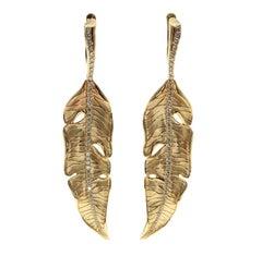 Brown Diamonds 18 Karat Yellow Gold Leaf Earrings