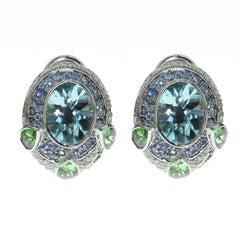 Aquamarine Tsavorite Diamonds Sapphire 18 Karat White Gold Oriental Earrings