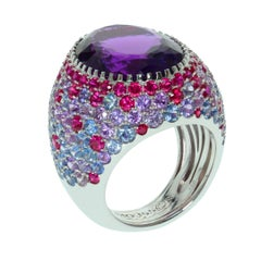 Amethyst Multi-Color Sapphire 18 Karat White Gold Ring
