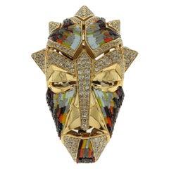 Micromosaic Champagne Diamonds 18 Karat Yellow Gold Shaman Mask Brooch Pendant