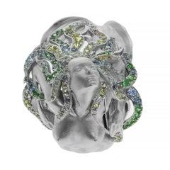 Diamond Sapphire 18 Karat White Gold Mermaid Ring