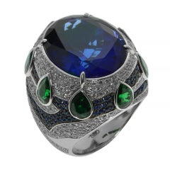 Tanzanite 19.82 Carat Diamonds Tsavorites 18 Karat Gold Oriental Magrib Ring