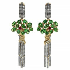 Diamond Tsavorite 18 Karat Yellow Gold Eden Tree Earrings
