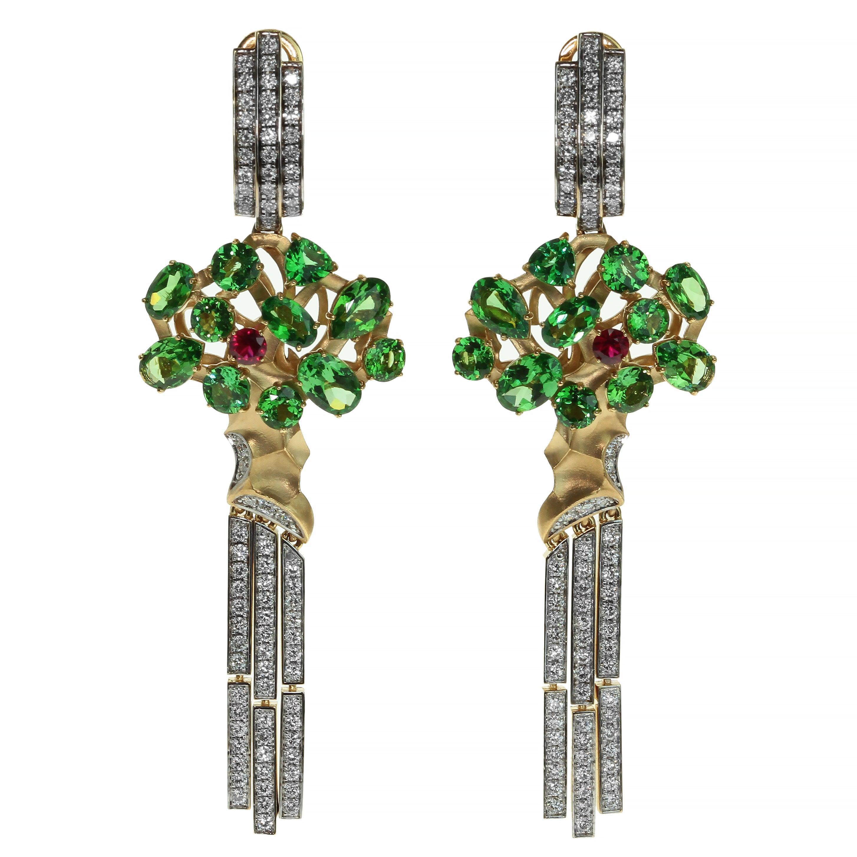 Diamond Tsavorite 18 Karat Yellow Gold Eden Tree Earrings
