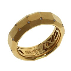 Diamond 18 Karat Yellow Gold Geometry Banded Ring