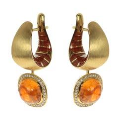 Diamond Mandarin Garnet 18 Karat Yellow Gold Kaleidoscope Enamel Earrings
