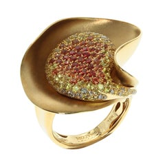Diamond Multi-Color Sapphire 18 Karat Yellow Gold Ring