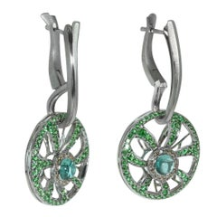 Diamond Tourmaline Tsavorite 18 Karat White Gold Earrings