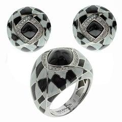 Black Spinel Diamond Enamel 18 Karat White Gold Ring Earring Suite