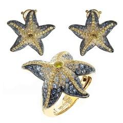 Diamonds Sapphire 18 Karat Yellow Gold Sea Star Ring Earrings Suite