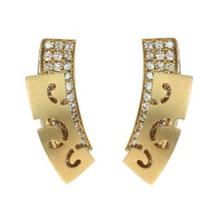 Brown Diamonds 18 Karat Yellow Gold Veil Earrings
