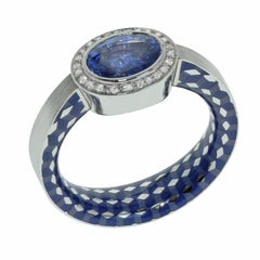 Blue Sapphire 1.91 Carat Diamonds Enamel 18 Karat White Gold Kaleidoscope Ring