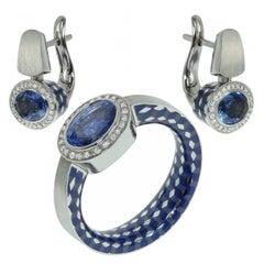 Blue Sapphire Diamonds Enamel 18 Karat White Gold Kaleidoscope Suite