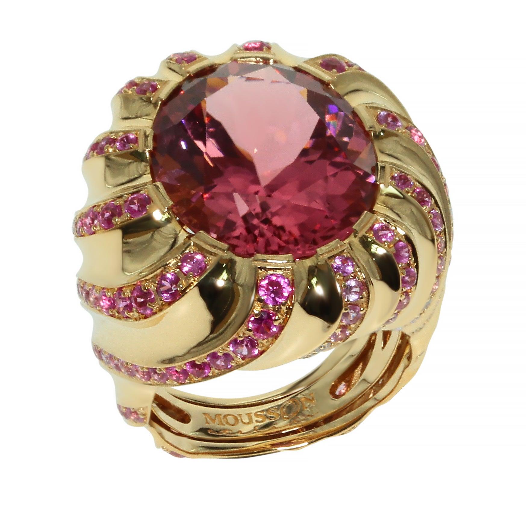 Pink Tourmaline Diamond Pink Sapphire 18 Karat Yellow Gold Ring