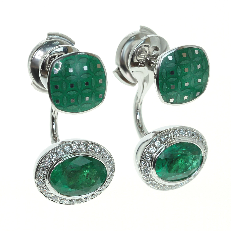 Emerald 2.34 Carat Diamond Enamel 18 Karat White Gold Earrings