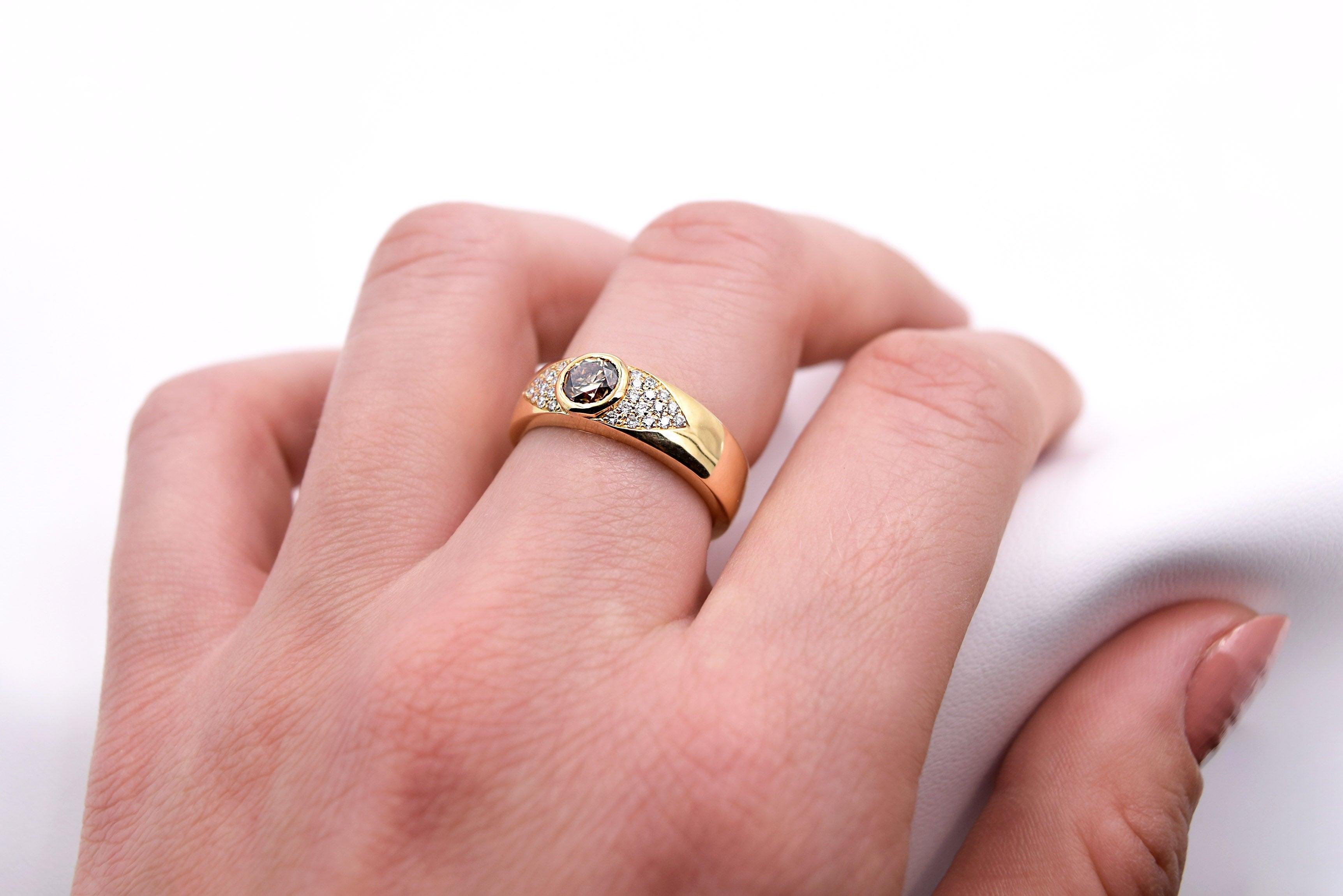 Brown Diamond and White Diamond Statement Ring in 18 Karat Yellow ...