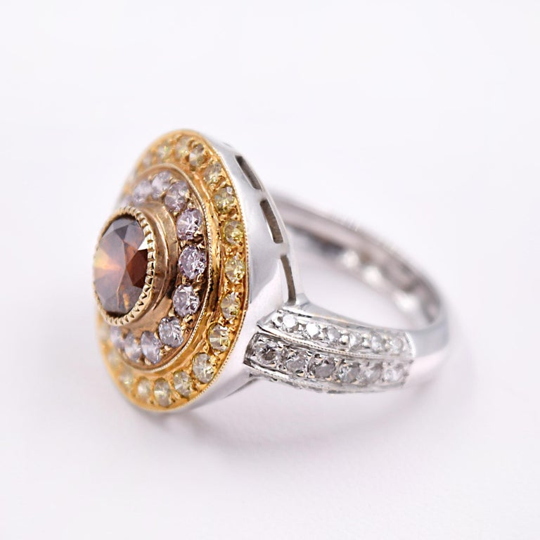 Contemporary Sethi Couture Multicolored Diamond Cocktail Ring In 18 Karat White Gold For Sale