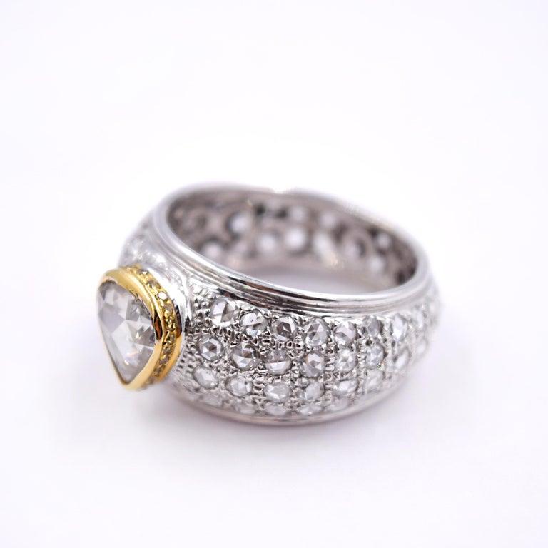 Contemporary Sethi Couture 313 Carat Rose Cut Diamond Statement Ring In 18 Karat White Gold For