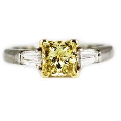 1.07 Carat GIA Certified Graff Yellow Diamond Platinum Engagement Ring