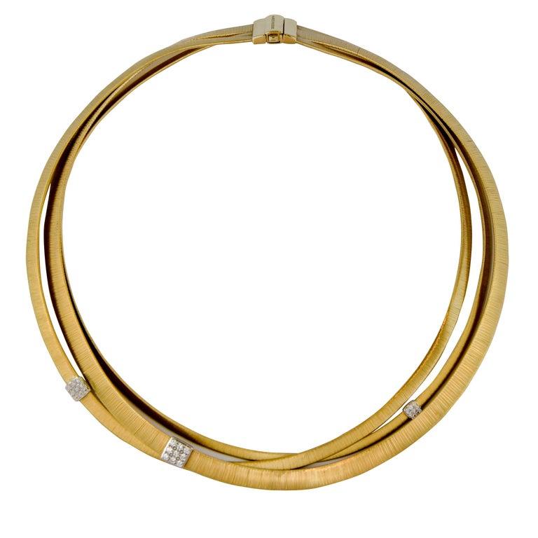Marco Bicego Masai Three-Strand Diamond Necklace 18 Carat Gold