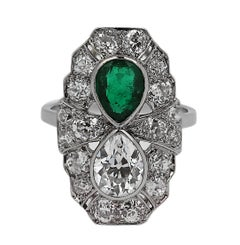 Art Deco 1920s Platinum Pear Shape Diamond and Emerald Ring