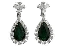 Certified Emerald 17.5 Carat and Diamond Drop Earrings, Elizabeth Taylor Style