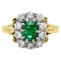 Colombian Emerald and Diamond Rectangular Cluster Ring Vintage 18 Carat Gold