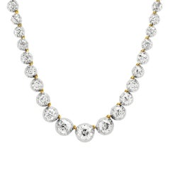 Victorian Riviere, Single Strand Old European Cut Diamond Necklace