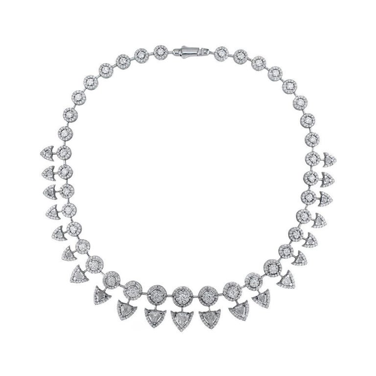 18K White Gold and 19.67 cts of Diamonds - One of a Kind - Spear Necklace