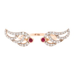18K Rose Gold & 0.33 cts White Diamonds 0.07 cts Ruby Swan Pave Ring by Alessa