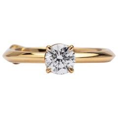 GCAL Certified 18 Karat Yellow Gold and 0.50 Carat Diamond Chloris Ring, Alessa