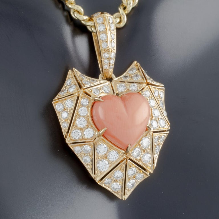 Bulgari Bvlgari High Jewelry Diamond and Coral Heart 18 Karat Gold Pendant In Good Condition For Sale In Sherman Oaks, CA