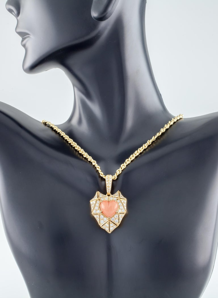 Bulgari Bvlgari High Jewelry 18k Yellow Gold Diamond and Coral Heart Pendant