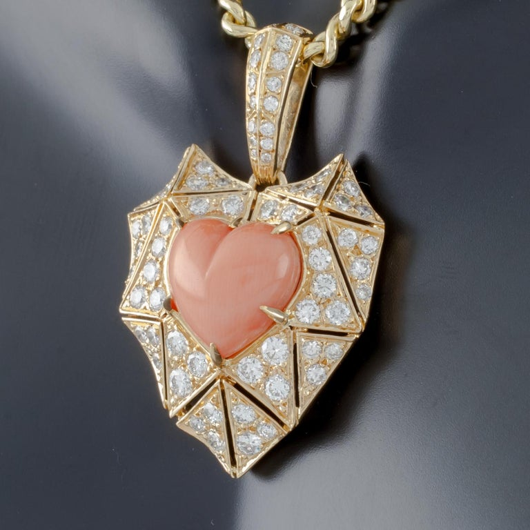 Women's Bulgari Bvlgari High Jewelry Diamond and Coral Heart 18 Karat Gold Pendant For Sale