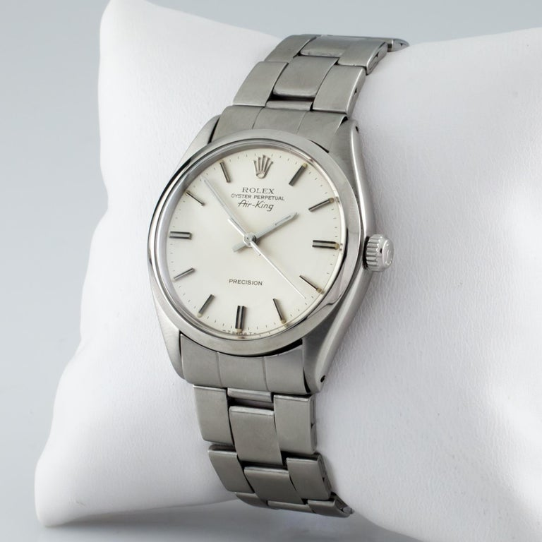 Rolex Air King Oyster Perpetual SS Men's Automatic Watch 5500 1979 In Good Condition For Sale In Sherman Oaks, CA