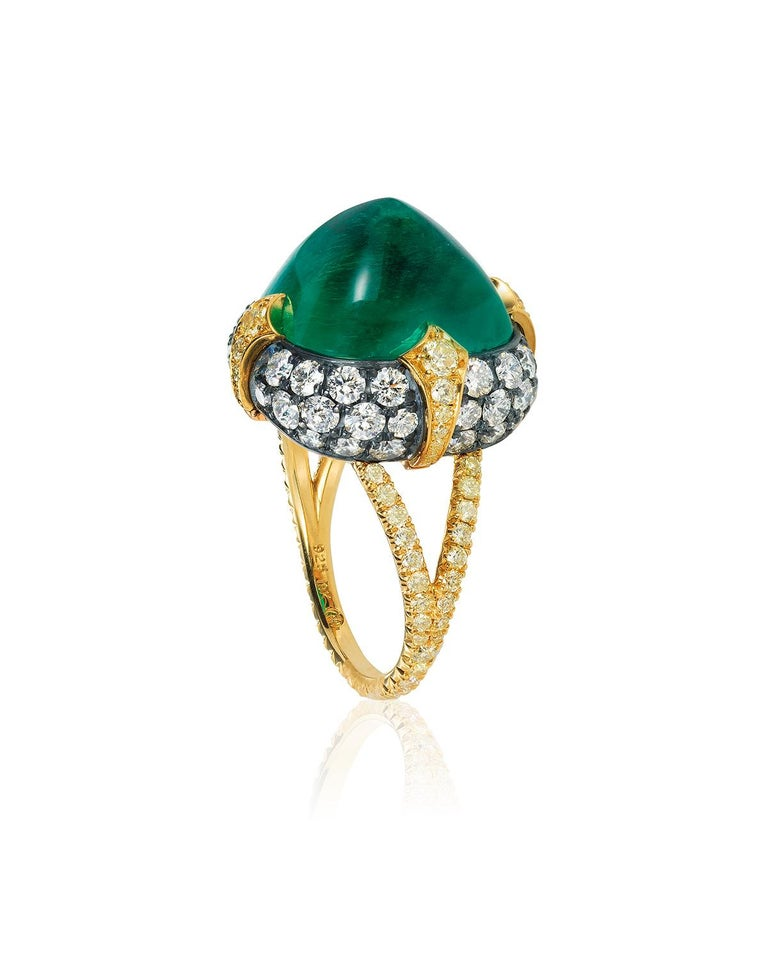 Modern Bayco 11.28 Carat Sugarloaf Cabochon Colombian Emerald Diamond Gold Silver Ring For Sale